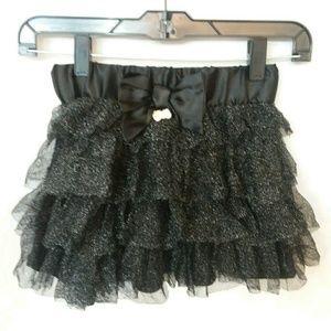 Hello Kitty Girls Black Glitter Tulle Ruffle Skirt